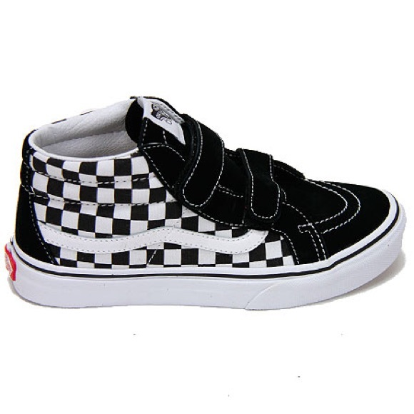 9bfedd11d5240 Vans Youth Sk8-Mid Checkered Sneakers